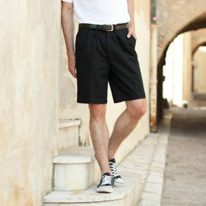 Teflon®-coated double pleat front chino shorts Thumbnail