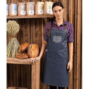 Waxed-look denim bib apron Thumbnail